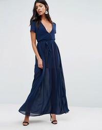 Pixie & Diamond Maxi Dress With Tie Waist - Темно-синий