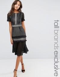 Кружевное платье-футляр с оборками True Decadence Tall - Мульти