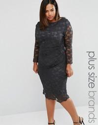 Кружевное платье Elvi Plus - Серый