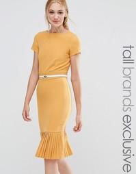 Платье-футляр с плиссированной кромкой Paper Dolls Tall - Желтый