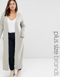 Elvi Plus Shimmer LongLine Cardigan - Серый