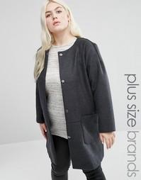 Пальто-кокон в клетку Elvi Plus - Серый