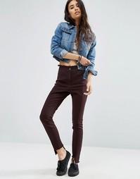 Зауженные брюки с необработанной ступенчатой кромкой и поясом ASOS - Фиолетовый