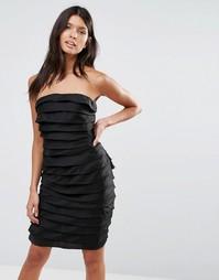Фактурное платье мини в стиле бандо Pixie & Diamond - Черный