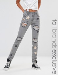 Glamorous Tall Distressed Boyfriend Jean With Sequin Star Detail - Серый