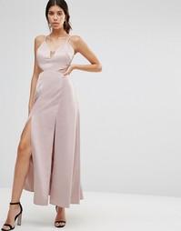 Атласное платье-сорочка макси с разрезами до бедра True Decadence - Розовый