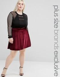 Короткая расклешенная юбка из мятого бархата Club L Plus - Красный