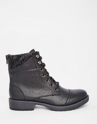 Байкерские ботинки с вязаным манжетом Head Over Heels By Dune Parkers - Черный