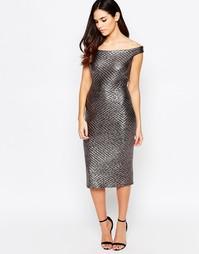 Стеганое платье-футляр цвета металлик с открытыми плечами Liquorish - Серебряный