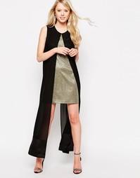Платье с отделкой блестками и шифоновой накладкой Jovonna What For - Золотой