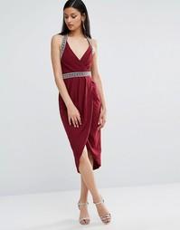 Платье миди с запахом и отделкой TFNC - Красный