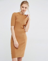 Облегающее трикотажное платье в рубчик Y.A.S Boni - Коричневый