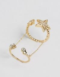 Кольцо регулируемого размера со звездами Cara NY - Золотой