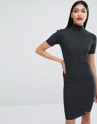 Вязаное платье с отделкой в рубчик Lipsy - Серый