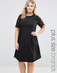 Платье с кружевными рукавами Koko Plus - Черный