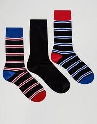 Набор из 3 пар черных носков в полоску Pringle - Черный