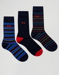 3 пары темно-синих носков в разноцветную полоску Pringle - Темно-синий