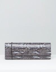 Клатч из искусственной змаиной кожи Lotus - Серый