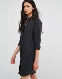 Жаккардовое платье‑рубашка с цветочным рисунком BCBG Generation - Черный