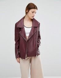 Байкерская куртка в стиле oversize из полиуретана Urbancode - Красный