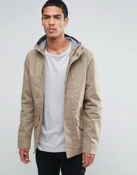 Хлопковая куртка с капюшоном Threadbare - Бежевый