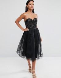 Платье миди с пайетками на лифе и тюлевой юбкой Rare London - Черный
