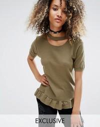 Состаренная oversize-футболка с баской в винтажном стиле Milk It - Зеленый
