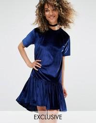 Свободное бархатное платье-футболка Milk It Vintage - Синий