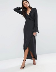 Платье с запахом и оборкой спереди BCBG Generation - Черный