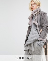 Удлиненная куртка-пилот из искусственной овечьей шерсти Story Of Lola - Серый
