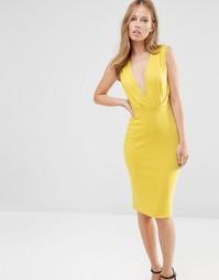 Платье-футляр длины миди с V-образным вырезом Alter - Желтый