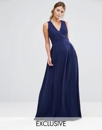 Платье макси с запахом и складками TFNC WEDDING - Темно-синий