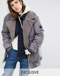 Удлиненная куртка-пилот с искусственным мехом Puffa - Серый