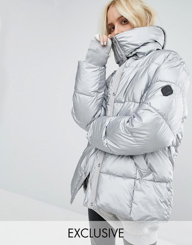 Серебристая дутая оversize-куртка с оттенком металлик Puffa - Серебряный