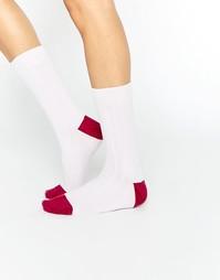 Кашемировые носки в рубчик в стиле колор блок Johnstons of Elgin - Розовый