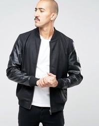 Куртка-пилот с рукавами из искусственной кожи Barneys - Черный