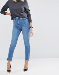 Джинсы слим в винтажном стиле с ремешками по бокам и ступенчатым низом ASOS FARLEIGH - Синий