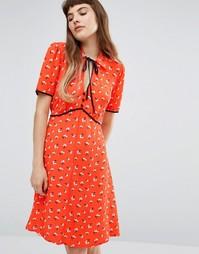 Чайное платье с цветочным принтом и завязкой на шее Miss Selfridge - Мульти