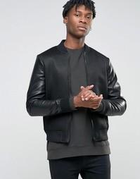 Сетчатая куртка‑пилот с рукавами из искусственной кожи BL7CK - Черный