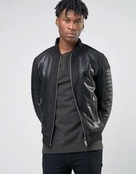 Байкерская куртка-пилот из искусственной кожи BL7CK - Черный