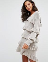 Платье-джемпер с оборками One Teaspoon Eldorado - Серый