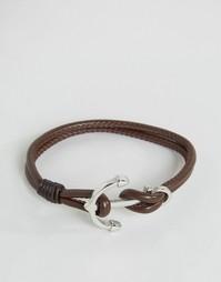 Коричневый кожаный браслет с якорем Seven London - Коричневый