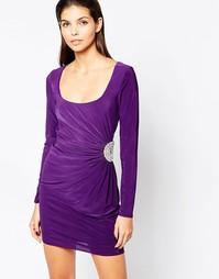 Облегающее платье с отделкой стразами и длинными рукавами City Goddess - Темно-синий