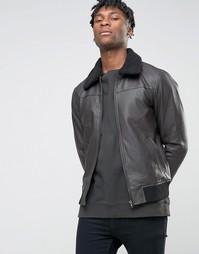 Куртка в кожаном стиле с искусственным воротником BL7CK - Черный