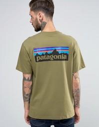 Зеленая футболка классического кроя с логотипом P6 Patagonia - Зеленый