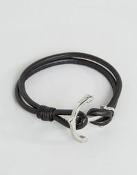 Черный кожаный браслет с якорем Seven London - Черный