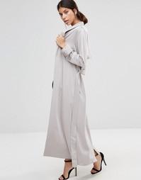 Атласное пальто True Decadence - Серый