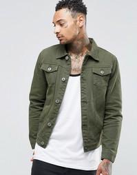 Джинсовая куртка цвета хаки Liquor & Poker - Зеленый