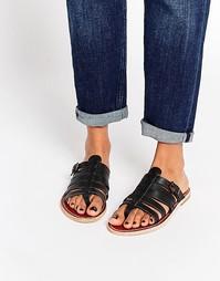 Кожаные сандалии с ремешками без застежки H By Hudson Alchemy - Черный