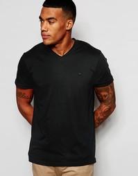 Черная облегающая футболка с V-образным вырезом Abercrombie & Fitch - Синий